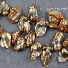 wholesale AA Tail Pearl Freshwater Pearl Top Drilled Dancing Orange Loose Pearl 11-14mm 15""