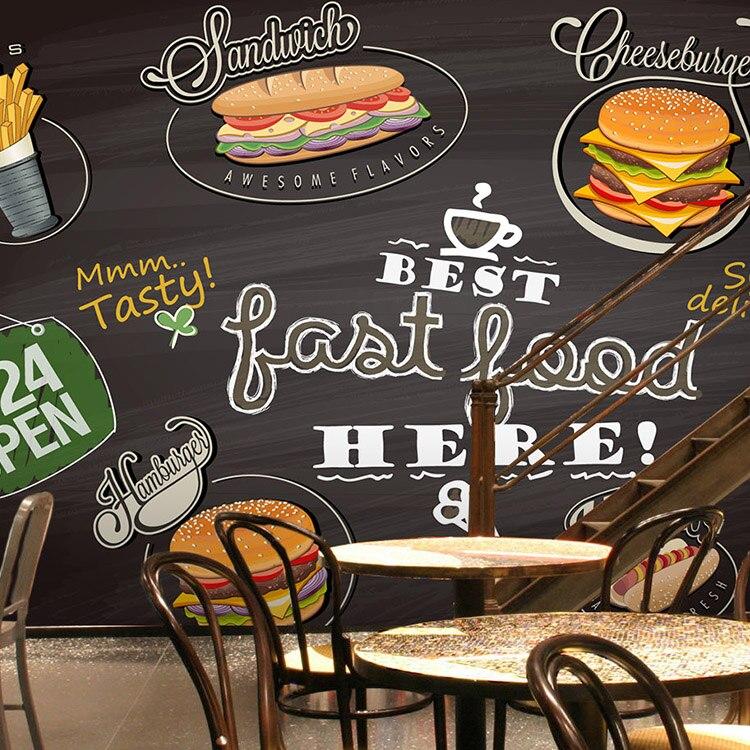 Custom 3d mural wallpaper 3D custom wallpaper burger restaurant wallpaper American fast food food bar background wallpape mural<br>