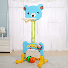 Infant Shining Baby Sport Game Basketball Stands Football Gate Little Bear Toy Can be Adjust heights Indoor