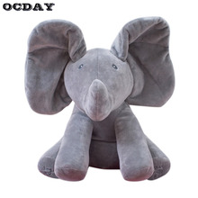 OCDAY Peek a boo Elephant Stuffed Animal Toy Plush Elephant Doll Play Electric Music Education Anti stress Toys For Children Hot(China)
