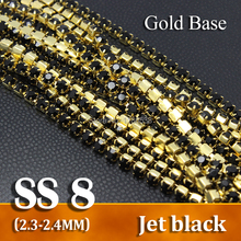 Densely SS8 Jet black Rhinestone chains Crystal strass chain sew on Gold base 10yards for garment bags free shipping