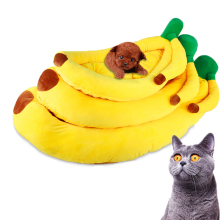 1pcs New Hot Sell High Quality Soft Warm Dog House Puppy Pet Home Kennel Cushion Cat Sofa Cheap Yellow Color Banana Pet Bed