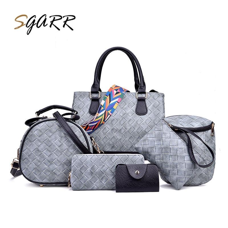 SGARR Brand Women Woven Leather Knitting Handbag Quality 6-Pieces Female Bag Adult Ladies Girl Shoulder Bag Value Specials Sale<br>