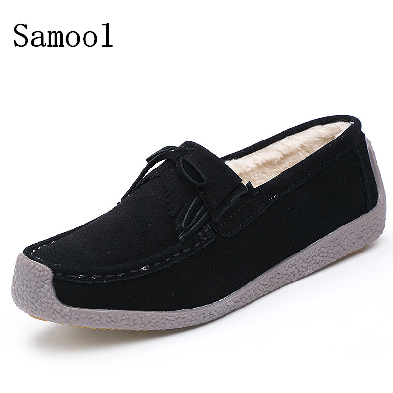 2017 Winter Fur Women Loafers Slip-on Leather Ladies Flats Warm Plush Driving Boat Shoes Women Moccasins Keep Warm Casual Shoes<br>