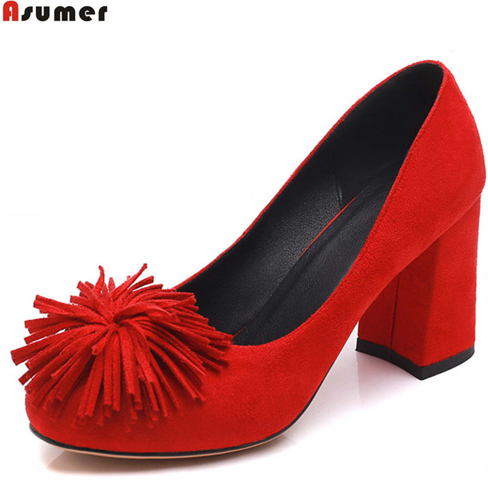 ASUMER red black round toe shallow elegant spring autumn shoes woman square heel flock wedding shoes women high heels shoes<br>
