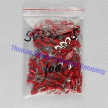 SV1.25-5 Red 100PCS/Pack SV1.25-5 Insulated Fork Cable Wire Terminal Connector Electrical Crimp Terminal SV1-5 SV