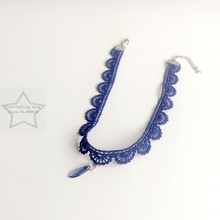 Handmade Czech Glass Charm & 1.3CM Blue Chemical Lace & Stainless Steel Jewelry Choker Necklaces(China)