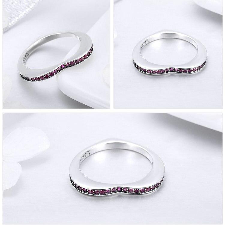 925 Sterling Silver Pink Crystal Heart Rings