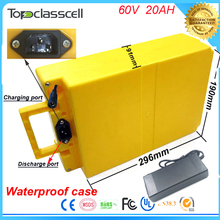 Rechargeable battery pack 60V 20Ah 2000w  lithium ion type e-bike battery with waterproof case +charger +bms