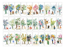 30PCs/Box Colorful Flowers Paper Bookmark Card DIY Book Marks Message Cards Cute Stationery Office and School Supplies 150*55mm