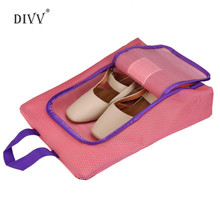 DIVV Casual Portable Travel Shoe Bag Waterproof Zip view window Pouch Storage Bag 1pc Pink,Black,Blue Bag