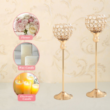 Wedding Centerpieces Candelabra Crystal Candlestick Tea Light Metal Gold Candle Holder Lantern Stand for Christmas Home Decor(China)