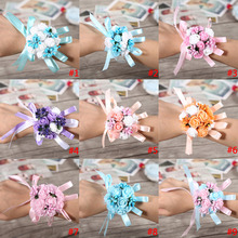Hot Wedding Bridal Bridesmaid Hand Flowers Wrist Corsage Party Wedding Prom Dance Hand Ribbon Flower Decoration