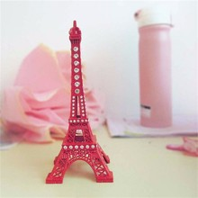 1 Piece Red Metal Crystal Eiffel Tower Model Miniature Figurines Craft World Architecture Collection Home Decoration 18cm
