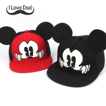2017 Hot Mickey ear hats children snapback Caps baseball Cap with ears Funny Hats spring summer Autumn hip hop boy hats caps(China)