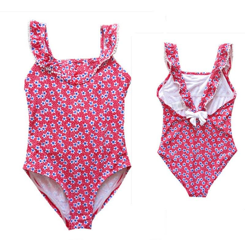 Kids Swimwear Bow Stripe Lotus Leaf Baby Sling Swimsuit Baby Girl One Piece Childrens Clothing Hat 2-6yrs Swimwear