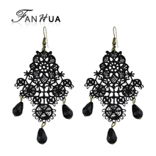 FANHUA Fashion Jewelry Black Acrylic Beads Dangle Earrings Hollow Out Lace Chandelier Pattern Geometric Drop Earrings For Women(China)