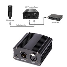 48V Phantom Power  Supply With Adapter And 3M Audio XLR Cable For Any Condenser Microphone Music Voice Recording Equipment