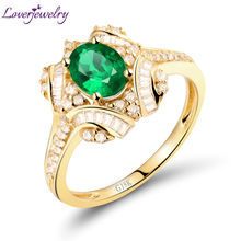 Hot!Solid 0.59CT 18kt Yellow Gold Diamond Oval Natural Emerald Wedding Ring Gemstone Jewelry for Mother Christams Gift WU281