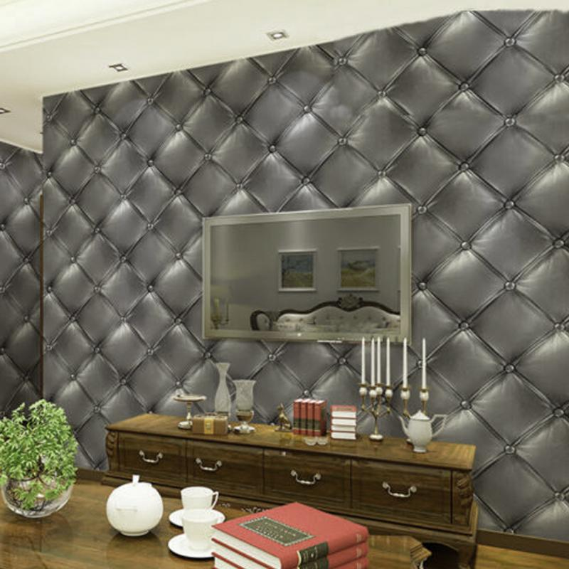 3D Fashion Creative Warmth Of The Luxurious Skin Of Vinyl Imitation Leather Effect Of Gray Wallpaper<br>