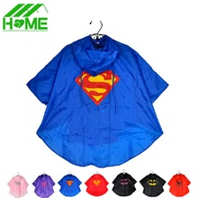 2pc Kids Rain Coat Superman Batman Spiderman Rainwear Boys Girls Waterproof Kid Raincoat Clothes Superhero for Children Rainsuit(China)