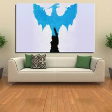 dragon age blue art illust minimal Cartoon Abstract drawing Canvas Spray Frameless Home decor Oil Painting Decoration gift