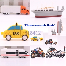 Cartoon Ship Motorcycle Taxi Truck Train Motor Car 32GB 16GB 8GB 4GB USB2.0 Flash Drive Pen Drive Memory Stick U Disk Pendrives