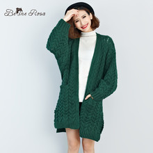 BelineRosa Plus Size Sweater Coat European Casual Pure Color Thick Kntting Long Cardigans for Women FIT L~3XL Size TYW110