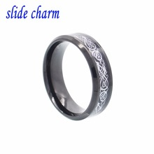 slide charm Free shipping The new classic popular black titanium steel ring inlaid carbon fiber silver dragon for women(China)