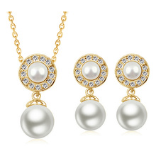 2017 women brand bridal Kate queen white gold color Simulated round Pearl pendant Necklace Earrings Jewelry sets G122