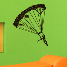 Parachutist Wall Stickers Extreme Skydiving Sports Vinyl Decals Removable Silhouette Wall Decals Boys Room Wallpapers(China)