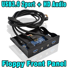 "20 Pin 3.5"" Internal Floppy Bay Front Panel Bracket Cable 3.5 Inch 20Pin 4 Port USB 3.0 Hub Mic HD Audio Interface Adapter"