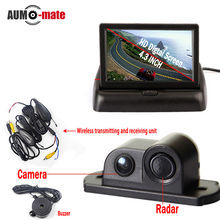 Wireless Car Parking Sensor System with 4.3'' LCD Monitor 2 in 1 Camera and Radar Parktronic Buzzer Reversing