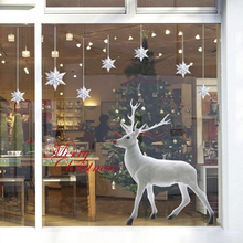 Hot Sale Wall Stickers Christmas Tree White Deer Removable Wall Sticker Art Home Decor Decal Levert Dropship(China)