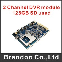 Low cost 2 channel CCTV DVR module with OEM service for free shipping
