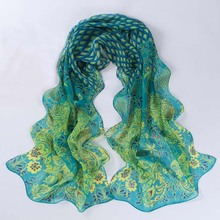 Peacock Printing Scarf Women Girl Shawl Chiffon Scarves Cape Silk Black Flowers Chiffon Fashion Scarves Wraps