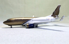 Out of print Inflight 200 1/200 Gulf Air Boeing 737--700 alloy aircraft model HB-IIQ Limited Collector Model