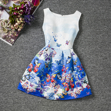 2017 Summer Casual Girl Flower Dress Wedding Party For 12 Years Age Girls Children Printed Butterfly Pattern Baptism Dress