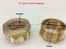 "Free Shipping 1'' female x 1-1/2""male Brass Pipe Reducing Hex Bushing Fitting Coupler, copper bushing, brass fitting,"