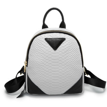2016 new fashion crocodile pattern simplicity small bag backpack leisure hit color stitching  PU Women's Backpack zs356