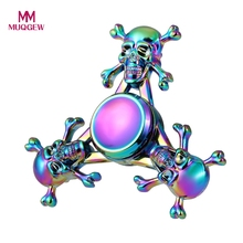 Buy Colorful Fidget Spinner Metal Skull EDC Hand Tri Spinner Autism ADHD Relief Anti Stress Finger Focus Toys Adult Kids Spiner for $4.77 in AliExpress store