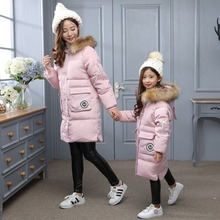 Winter Girl's jackets/coats Childrens down Coats with real fur Girls/Mom thick duck down Warm jacket Outerwears jackets