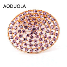 Round Gold Color Brooch with color Rhinestone Brooches Pins For Wedding Women Scarf Clip Collar Tips Bouquet Fashion Jewelry
