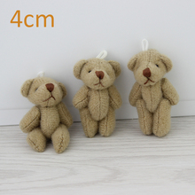 H-4cm Brown Stuffed Jointed Bear lovely Mini teddy bears Gift Flower Packing 100pcs/lot(China)