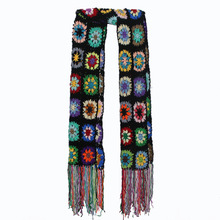 Luxury Brand Handmade Crochet Tassel Scarf and wraps women 200*26cm Big  flower autumn winter scarves poncho