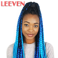 Leeven Jumbo Braids ombre Kanekalon braiding synthetic hair extention Black Blue Hair Extension Crochet 24'' 100g 1Piece
