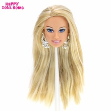 "Excellent Quality Doll Head Long Blonde Straight Hair Blue Eye Shadow With Random Earrings Accessories For 12"" 1/6 Doll Gift Toy(China)"