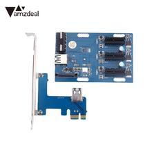 amzdeal PCIe 1 3 PCI Expansion Card Riser Connector Cable Slots Adapter Port Kit Mini(China)