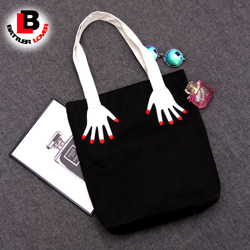 Funny hand finger red nail print Canvas Women Ladies Handbag Girls Shoulder Bag embroidery Black Shopping Bag Bolsos Fashion
