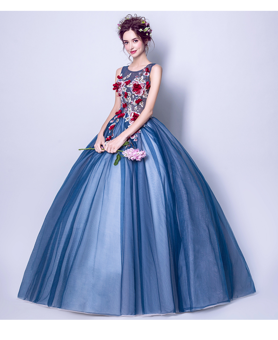 Angel Wedding Dress Marriage Evening Bride Party Prom Bridal Gown Vestido De Noiva Blue camouflage, fantasy flowers 2017 7572 12